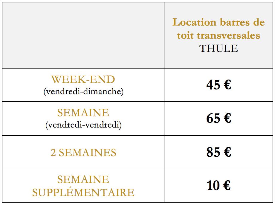 Grille tarifaire - barres