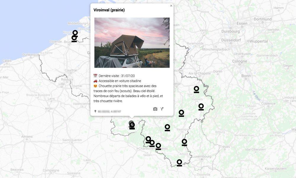 carte des lieux de bivouacs et spots stoemelings